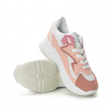 Дамски маратонки в розово на висока подметка it270219-5 4