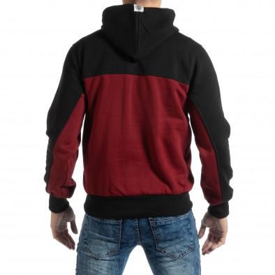 Мъжки суичър тип анорак в черно и бордо it261018-77 3