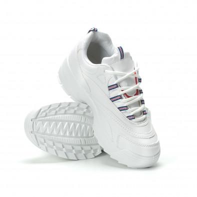 Дамски маратонки в бяло с обемна подметка it250119-87 4