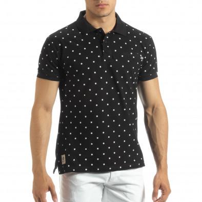 Мъжки черен polo shirt Clover мотив it120619-36 2