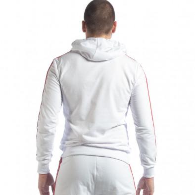 Бял мъжки суичър с качулка и кантове it040219-97 4