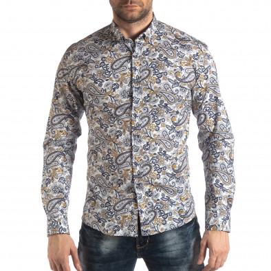 Мъжка бяла риза кашмирен десен с жълто it210319-89 2