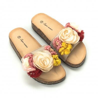 Дамски чехли с флорален дизайн в бежово it050719-4 3