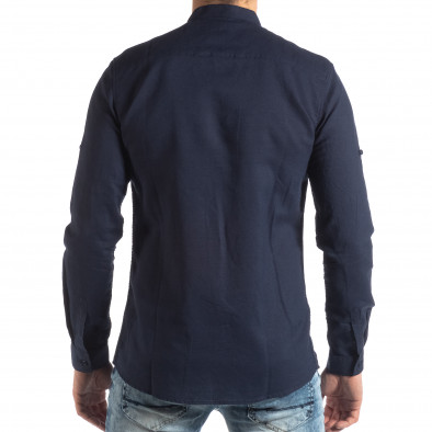 Мъжка риза от лен и памук в тъмно синьо it210319-106 4