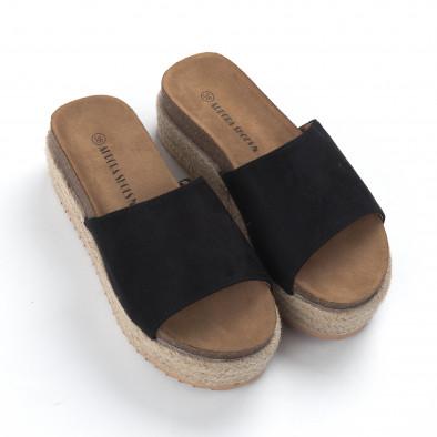 Дамски черни чехли на платформа it050619-85 3