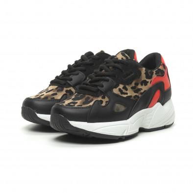 Дамски маратонки червено и леопард с дебела подметка it230519-20 3