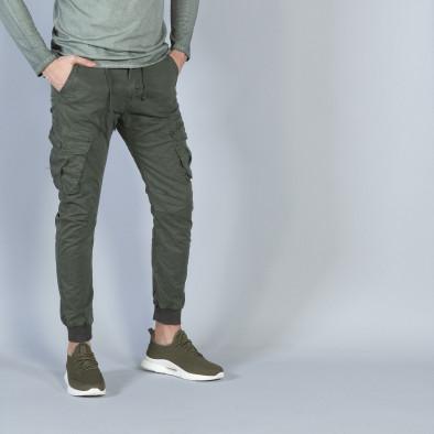 Мъжки Cargo Jogger панталон в милитъри зелено it040219-28 2