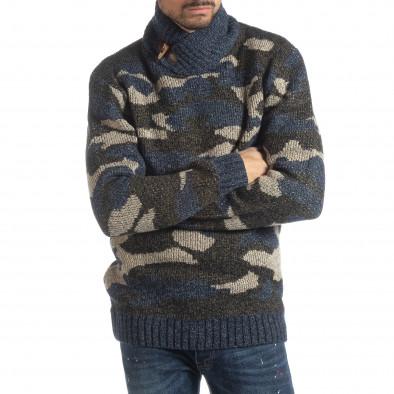 Мъжки пуловер с голяма яка син камуфлаж it051218-51 2