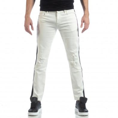 Ултрамодерни мъжки дънки в бяло с кантове it040219-26 3