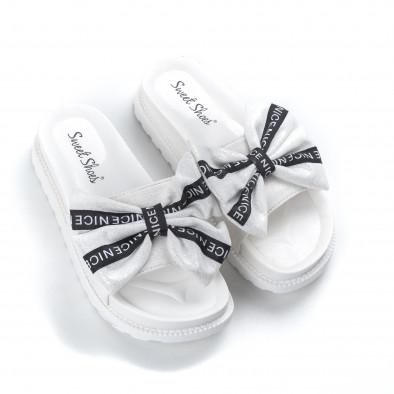 Дамски чехли бяла панделка с надписи it050619-52 3