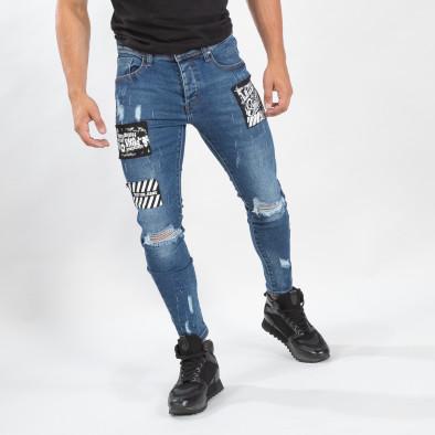 Сини мъжки прокъсани дънки с кръпки it170819-48 2