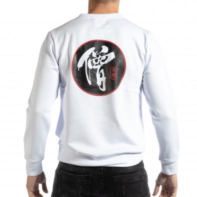 Бяла мъжка блуза с източен мотив it261018-94 3