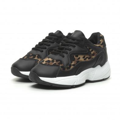 Дамски маратонки черно и леопард на висока подметка it230519-17 3
