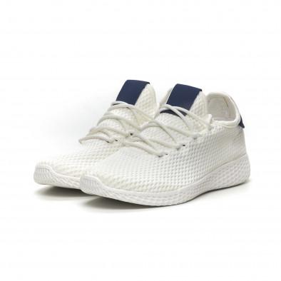Мъжки бели леки маратонки синя пета it040619-5 3