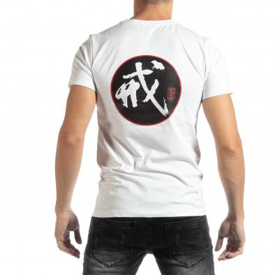 Мъжка бяла тениска с източен мотив it261018-118 3