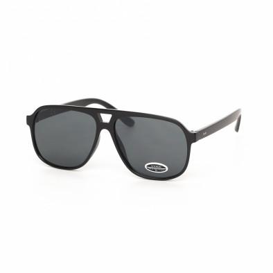 Черни класически трапецовидни слънчеви очила it030519-39 2