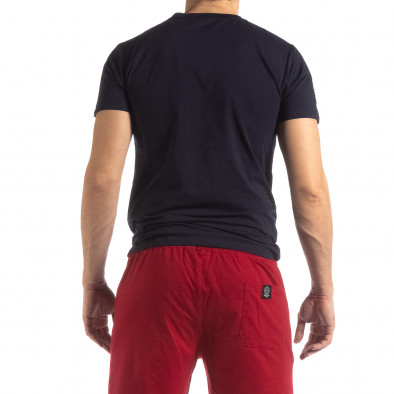 Тъмносиня мъжка тениска с лого кант it210319-85 4