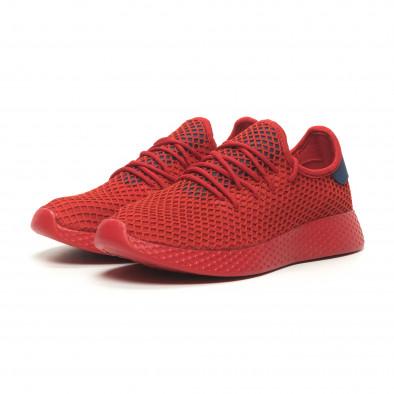 Червени мъжки маратонки Mesh синя пета it230519-8 3