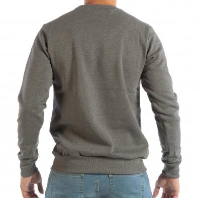 Сива мъжка ватирана блуза с флок щампа it240818-144 3
