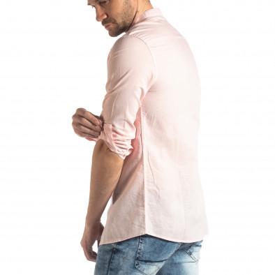 Мъжка риза от лен и памук в розово it210319-104 4