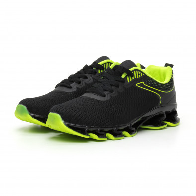 Мъжки маратонки черно и неон с релефна подметка it110919-7 3