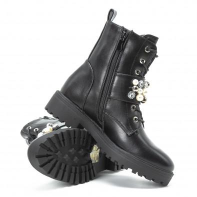 Черни дамски боти с перли и камъни it140918-61 4