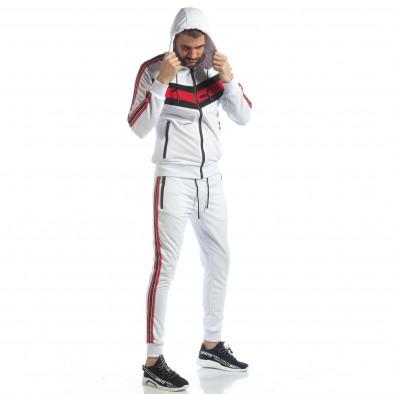 Бял мъжки спортен комплект с качулка и кантове ss-NB-10A-NB-10B 2