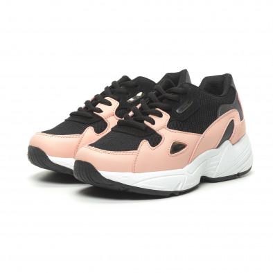 Дамски маратонки черно и розово с дебела подметка it230519-19 3