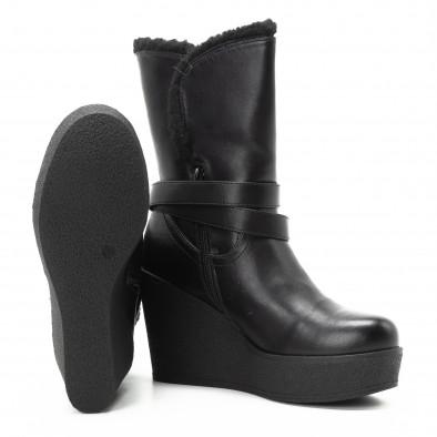 Черни дамски боти с висока платформа и каракул it301118-21 4