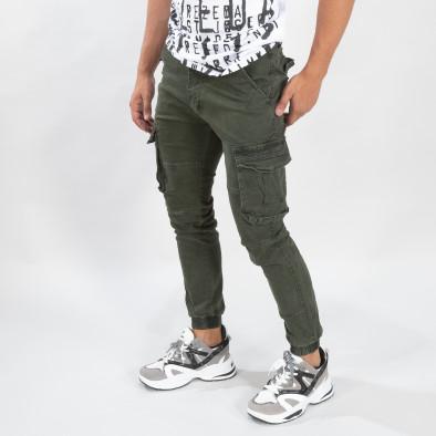 Зелен мъжки карго панталон с ластични маншети it170819-20 2
