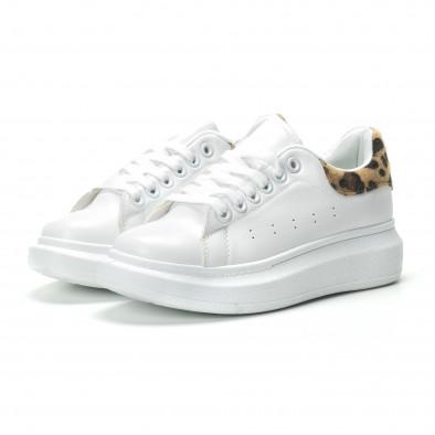 Дамски бели кецове с леопардова пета it250119-94 3
