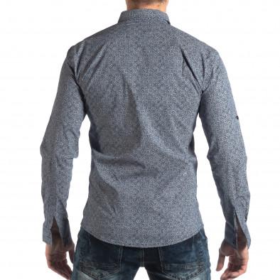 Slim fit мъжка риза с флорален десен в синьо it210319-92 3