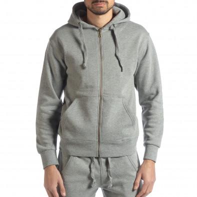 Basic мъжки памучен суичър в сиво it051218-40 2