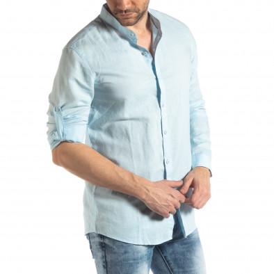 Мъжка риза от лен и памук в светло синьо it210319-105 4