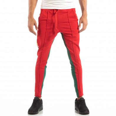 Мъжки Jogger в червено и зелено с кантове и ципове it240818-97 2