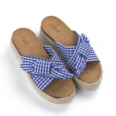 Дамски чехли на платформа в синьо каре it050619-78 3