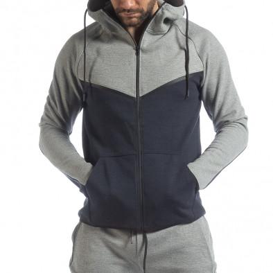 Сиво-син спортен мъжки комплект с качулка ss-LP216-LP211-1 4