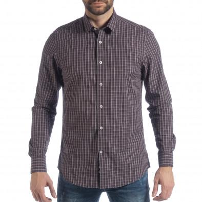 Мъжка памучна риза Slim fit синьо каре it040219-124 3