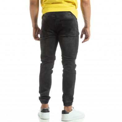 Мъжки черни рокерски дънки тип Jogger it120619-5 4