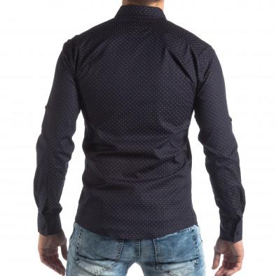 Мъжка вталена риза тъмно син кръстовиден десен it210319-96 4
