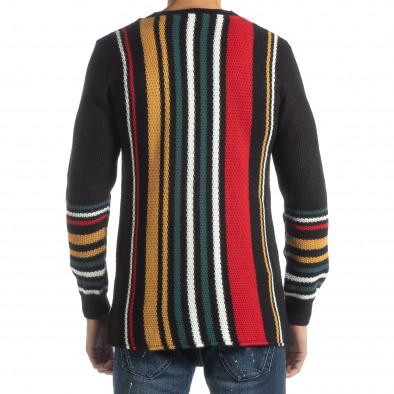 Мъжки колоритен раиран пуловер с черно it051218-57 3