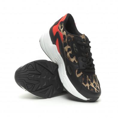 Дамски маратонки червено и леопард с дебела подметка it230519-20 4