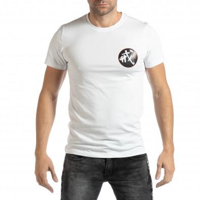 Мъжка бяла тениска с източен мотив it261018-118 2