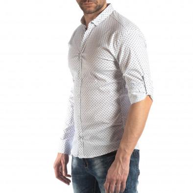 Мъжка вталена риза с бял кръстовиден десен it210319-94 4