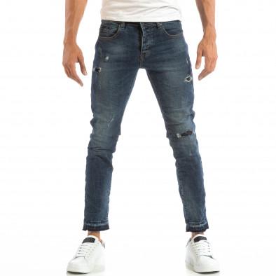 Мъжки сини дънки с кръпки и непоръбени крачоли it240818-48 2
