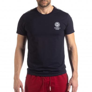 Тъмносиня мъжка тениска с лого кант it210319-85 3
