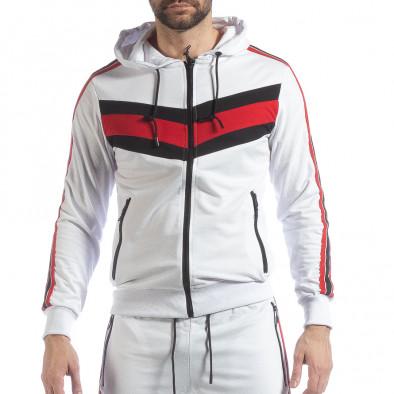 Бял мъжки спортен комплект с качулка и кантове ss-NB-10A-NB-10B 4
