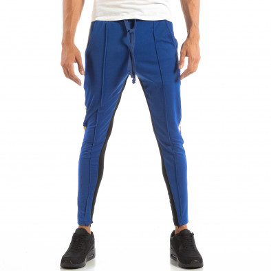 Мъжки Jogger в синьо и черно с кантове и ципове it240818-101 4