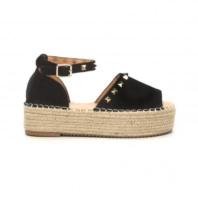 Черни дамски сандали тип еспадрили с капси it050619-35 2