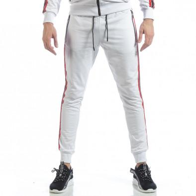 Бял мъжки спортен комплект с качулка и кантове ss-NB-10A-NB-10B 5
